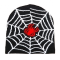 Biker Beanie red spider with white web